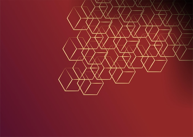 幾何学的な形と黄金の要素の組み合わせで抽象的な暗い背景。豪華な金色の線と赤と金の背景