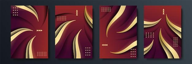 幾何学的な形と黄金の要素の組み合わせで抽象的な暗い背景