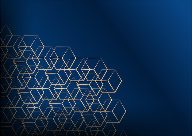 Abstract dark background with geometric shape and golden element combination. dark blue and gold background