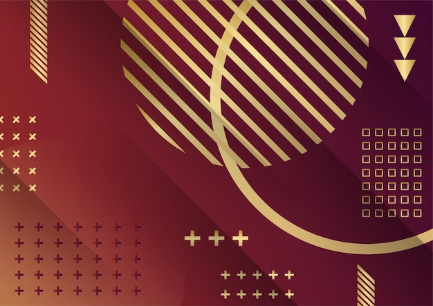 Abstract dark background with geometric shape and golden element combination. red and gold background with luxury golden lines