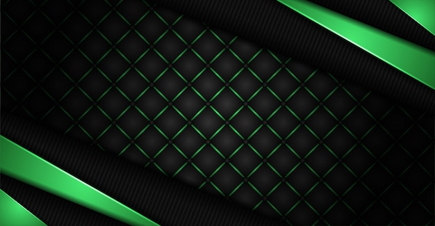 Abstract dark background with green shapes lines glowing combination
