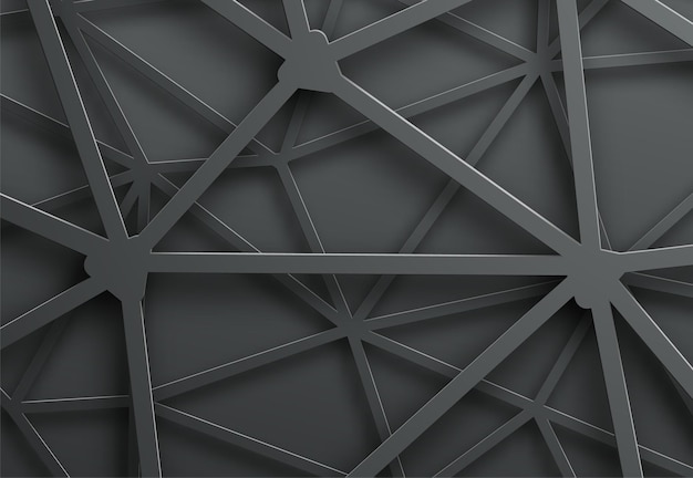 Abstract dark background with pattern of cobweb of metal lines with intersection.