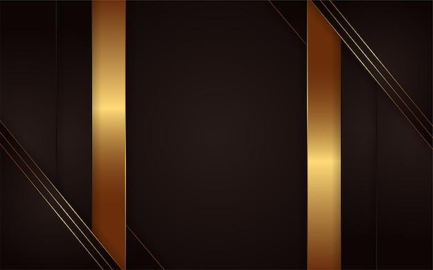 간단한 황금 라인 요소와 추상 어두운 배경