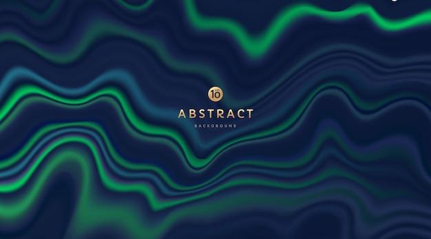 抽象的な紺色と輝くネオングリーン色の流体波状パターン