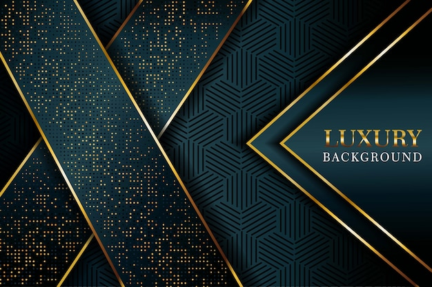Abstract dark blue arrow overlap with glitters dots and golden line modern luxury futuristic technology background