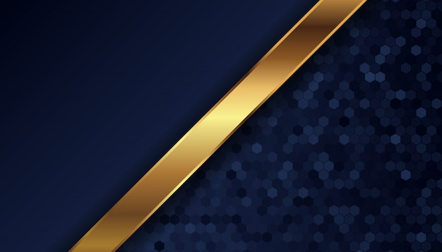 Abstract dark blue background with golden lines and dots