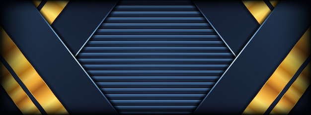 Abstract dark blue background with golden overlap layers