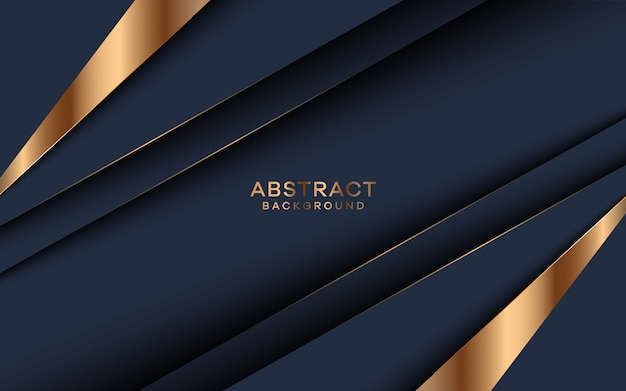 Abstract dark blue background with golden shape decorations.