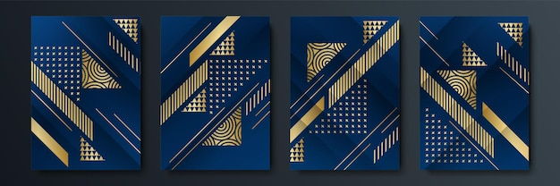 Abstract dark blue cover template background with geometric shape and golden element combination