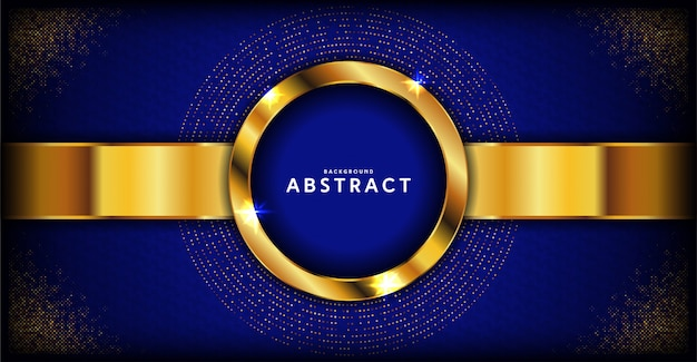 Abstract dark blue luxury background with golden line