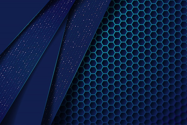 キラキラドットと六角形のメッシュパターンモダンな未来的な背景と抽象的な濃い青の重なり層