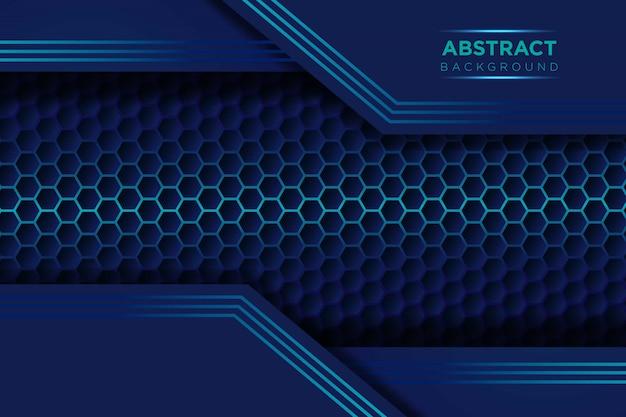 六角形のメッシュパターンモダンな未来的な背景を持つ抽象的な濃い青の重複レイヤー