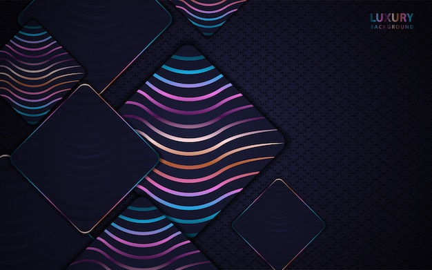 Abstract dark blue paper overlap background with colorful line