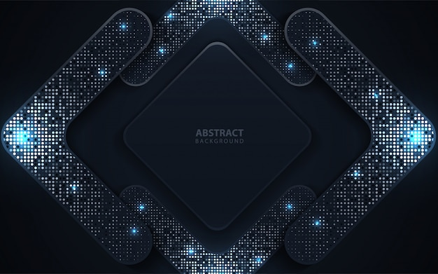 Abstract dark blue paper overlap background with glitters decoration