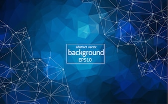 Abstract Dark blue Polygonal Space Background with Connecting Dots and Lines.