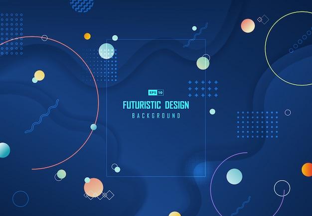 流体設計図形アートワークの背景の抽象的な濃い青の技術。
