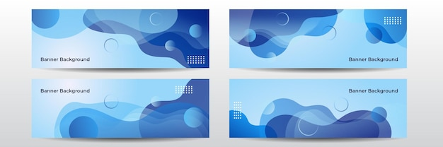 Abstract dark blue wide background illustration with wave element decoration