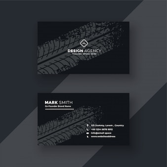 Abstract dark business card with tire mark