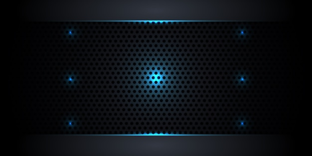 Abstract dark carbon fiber background with neon lights and luminous lines.