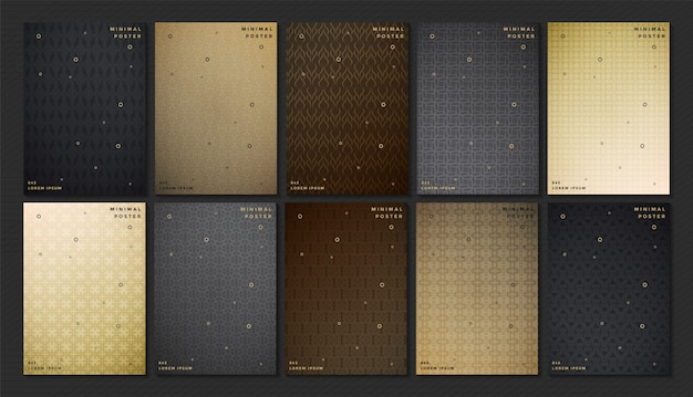 Abstract dark color pattern texture for book cover template vector set