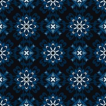 ファブリックの抽象的な暗い花のシームレスな装飾的なベクトルパターン