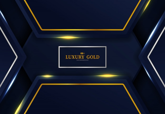 Abstract dark gradient blue hexagonal with gold and silver template design background.