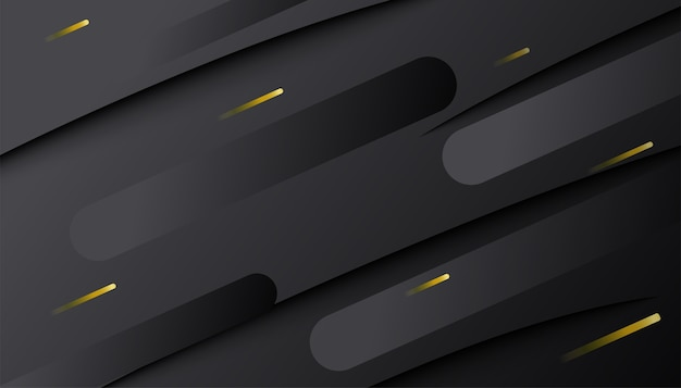 Abstract dark gradient dynamic shape with golden lines. minimal geometric 3d composition.