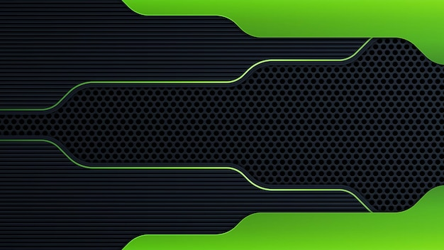 Abstract dark gray banner on black circle mesh with green light design modern futuristic technology background vector illustration.