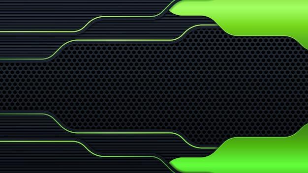 Абстрактный темно-серый баннер на сетке черный круг с зеленым светом дизайн современной футуристической технологии фон векторные иллюстрации.