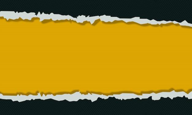 破れた紙の背景と抽象的な濃い緑と黄色。ベクトルイラスト。