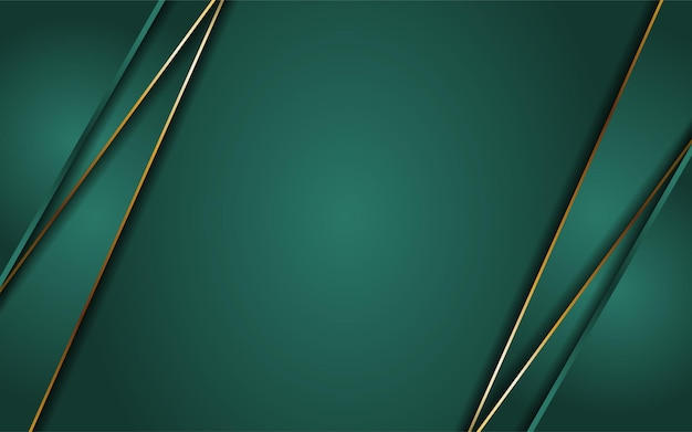 Абстрактный темно-зеленый фон в сочетании с линией золота