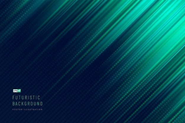 Abstract dark green and  blue color diagonal light technology background with halftone effect