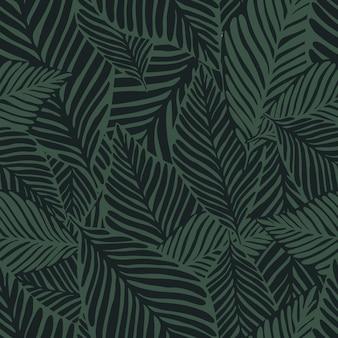 Абстрактный темно-зеленый принт джунглей. экзотическое растение. тропический узор, пальмовые листья бесшовные векторные цветочный фон.