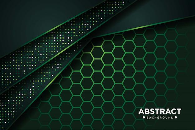 キラキラドットと抽象的な濃い緑の重なりと六角形メッシュデザインモダンで豪華な未来の技術の背景
