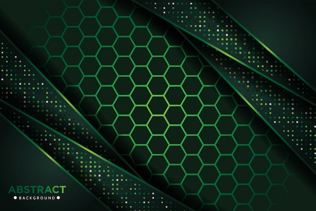 Abstract dark green overlap with glitters dots and hexagon mesh design modern luxury futuristic technology background