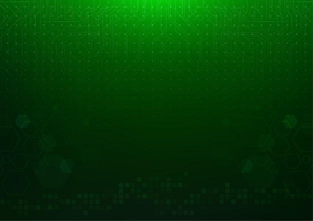 육각형 사각형 모양과 회로 기판 라인이 있는 추상 짙은 녹색 기술 배경