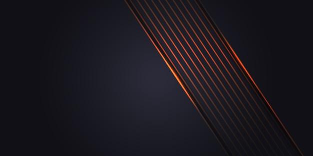 空白のオレンジ色の光のラインと抽象的な暗い灰色の背景。未来的な暗い高級モダンな技術の背景。