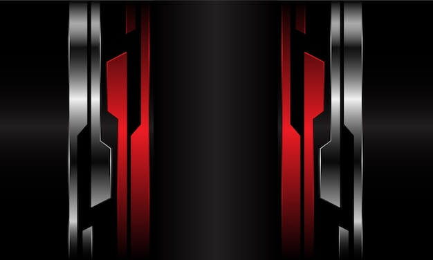 未来的なレッドシルバーブラックサイバーメタリックラインの抽象的なダークグレーの空白スペース。