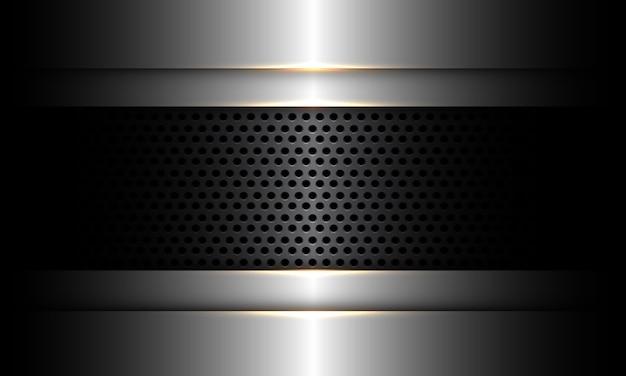 シルバーデザインの抽象的なダークグレーのメタリックサークルメッシュモダンで豪華な未来技術産業イラスト