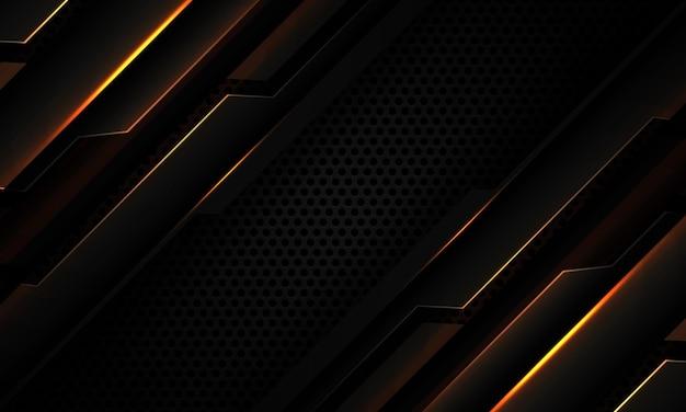 검은색 원 메쉬 현대 미래 기술 배경에 추상 짙은 회색 금속 사이버 기하학적 금색 슬래시