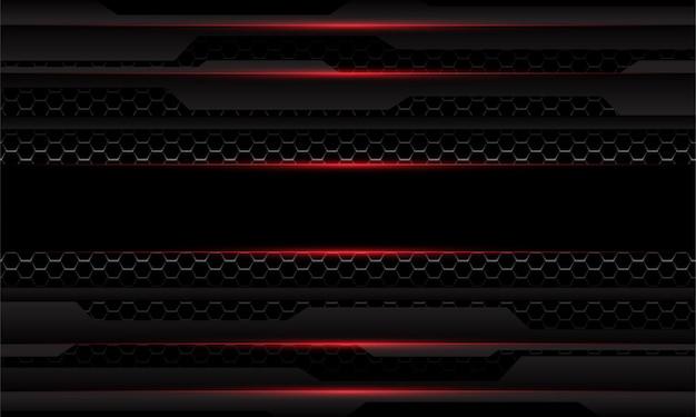 抽象的なダークグレーメタリックサイバー幾何学的な赤い光六角形メッシュオーバーラップ黒い背景