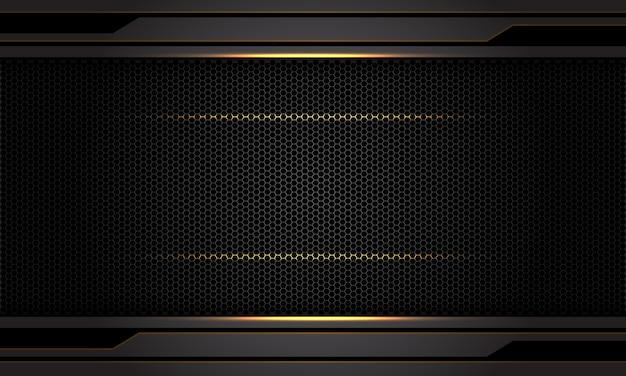 Abstract dark grey metallic gold light black hexagon mesh pattern background.