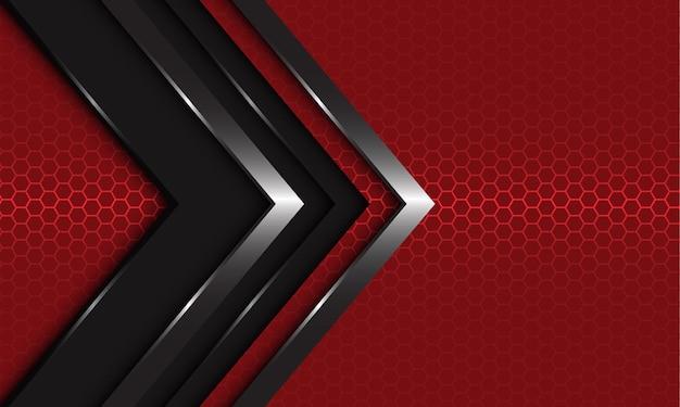 抽象的な濃い灰色の銀色の矢印の方向は、赤い六角形のメッシュの背景に重なっていますモダンな贅沢