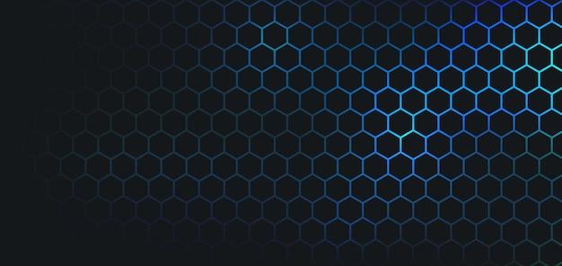 Абстрактный темный шестиугольник на синем фоне.