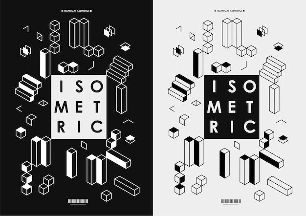 웹 디자인, 인쇄, 프레젠테이션을 위한 추상 어두운 아이소메트릭 포스터. 기하학적 모양 레이아웃 포스터 디자인 서식 파일입니다. 프리미엄 벡터