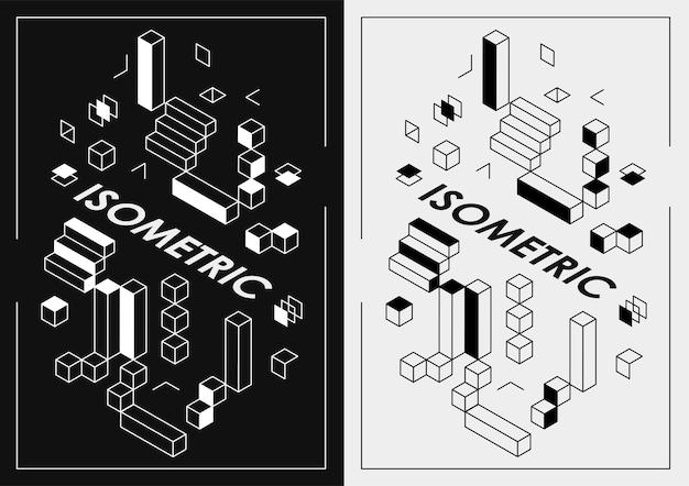 웹 디자인, 인쇄, 프레젠테이션을 위한 추상 어두운 아이소메트릭 포스터. 기하학적 모양 레이아웃 포스터 디자인 서식 파일입니다.