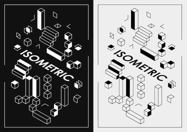 Abstract dark isometric posters for web design, print, presentation. geometric shape layout poster design template.