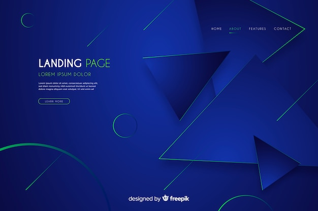 Abstract dark landing page