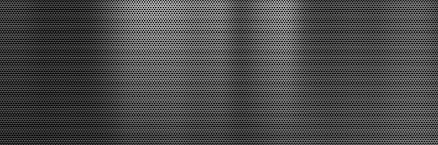 Abstract dark metal banner background with steel grill texture