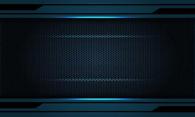 抽象的な暗いメタリックブルーライトブラック六角形メッシュパターン背景。